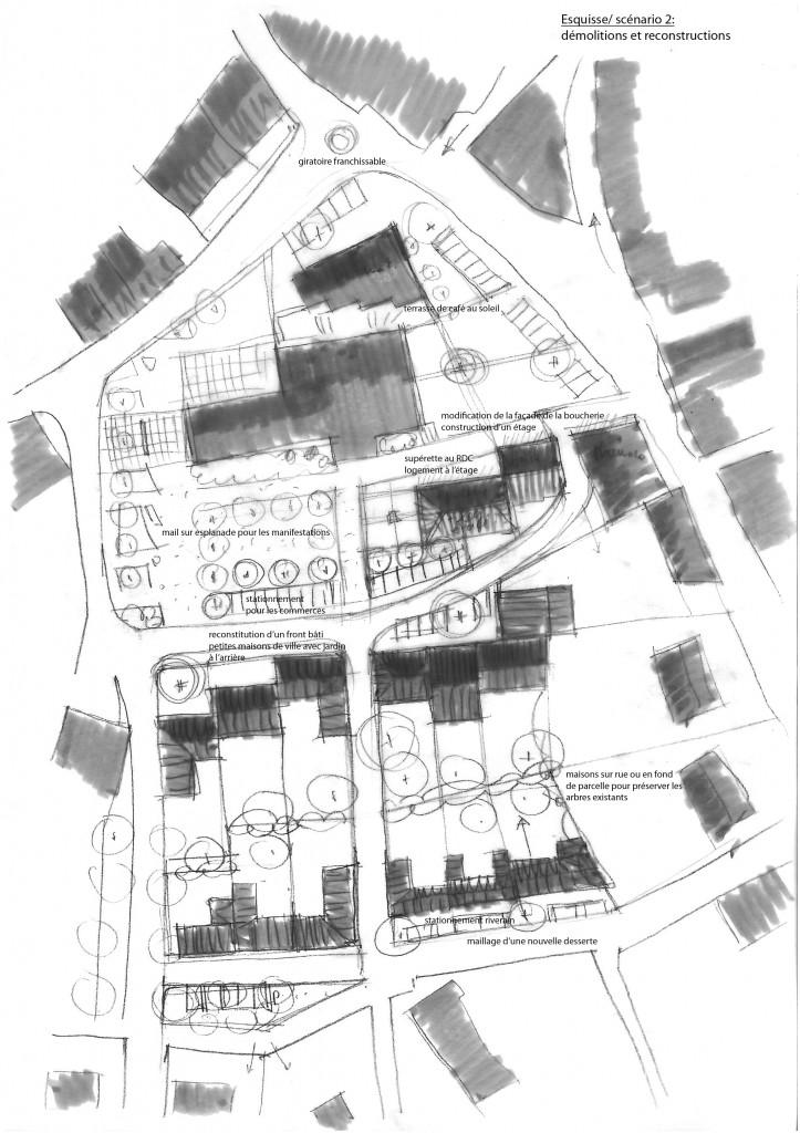 esquisse du contre bourg: espaces publics et densification urbaine