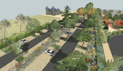 Am nagement du parvis du ch teau et de la salle bellegrave for Amenagement jardin 400m2
